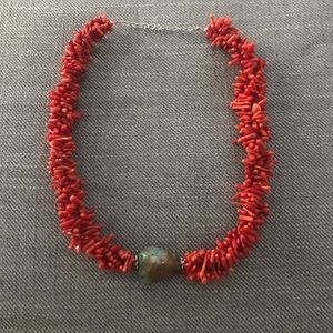 Red coral choker necklace